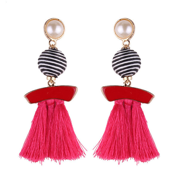 Azalea Tassel Earrings (Pink/ Red/ Black/ Green/ Blue/ Apricot/ White/ Purple)