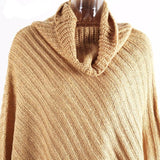 Erica Knitted Irregular Jumper Poncho Cape Tricot Cloak (Tan/ Grey)