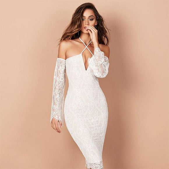 Dakota White Lace Bandage Dress