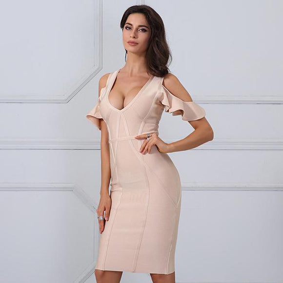 Kaiya Bandage Dress (Apricot/ Violet)