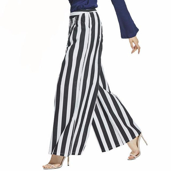 Emily Black & White Striped High Waist Wide Leg Pants
