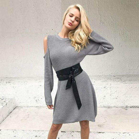 Crissy Cold Shoulder Grey Sweater Dress