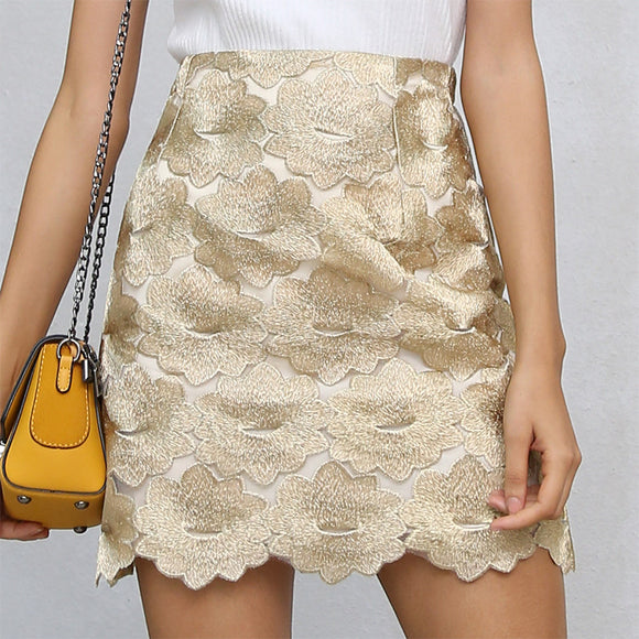Rosemary High Waist Gold Flower Embroidery Pencil Mini Skirt