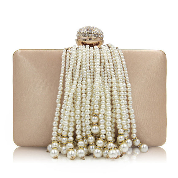 Alina Beaded Tassel Clutch Bag (Black/ Gold/ Pink/ Silver/ Rose/ Yellow)