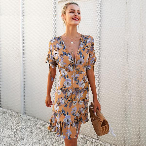 Melody Ruffle Floral Print Dress