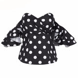 Deborah Polka-dot Off-shoulder Ruffle Top (Black/ White)
