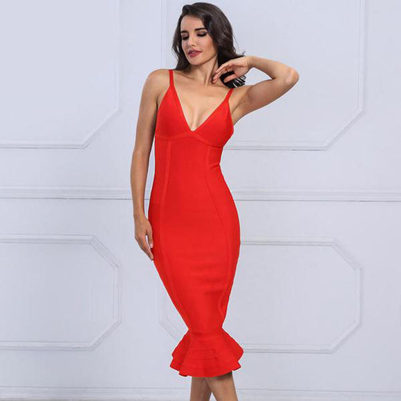 Ariel Bandage Dress (Red/ Black/ Apricot)