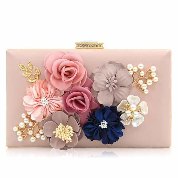 Megan Flower Clutch Bag (Pink/ White/ Red/ Black/ Maroon/ Beige/ Gold/ Blue/ Green/ Yellow)