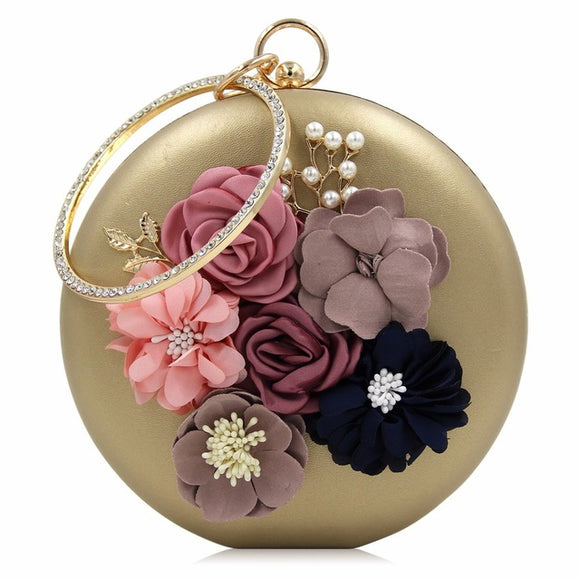 Maci Round Flower Clutch Bag (Black/ Pink/ Red/ White/ Beige/ Blue/ Gold)