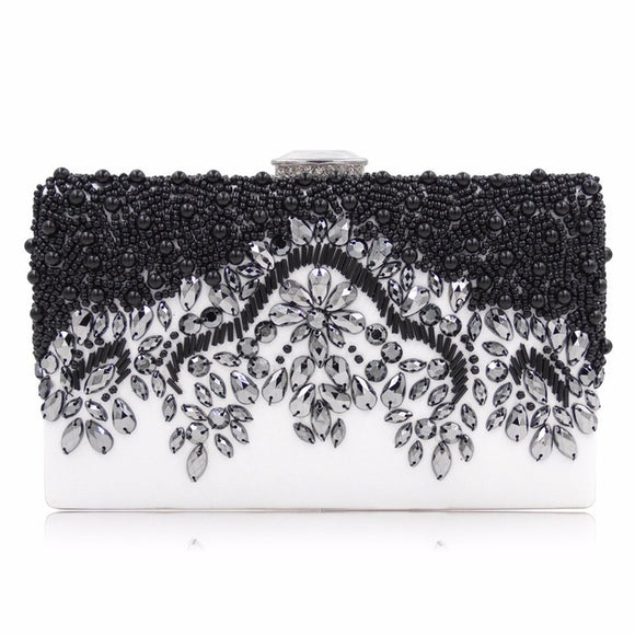 Elsie Beaded Black and White Clutch Bag