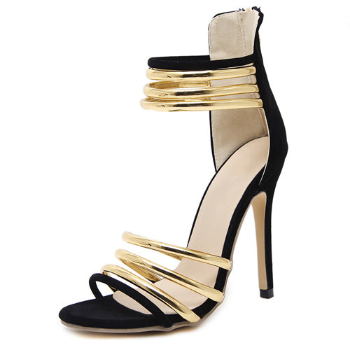 Zuri Black & Gold Gladiator Heels