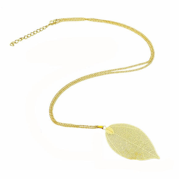 Bailey Leaf Pendant Long Gold Chain Necklace