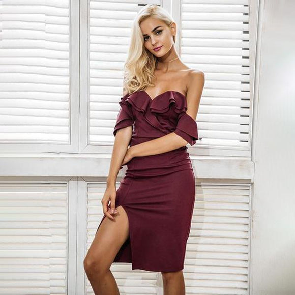 Vera Elegant Off Shoulder Bodycon Dress (Blush Pink/ Navy Blue/ Wine Red)