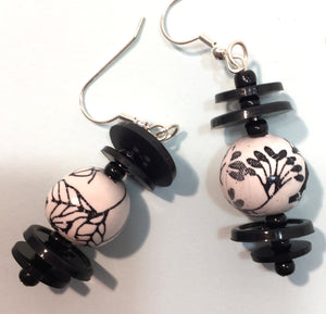 Bead and button earrings