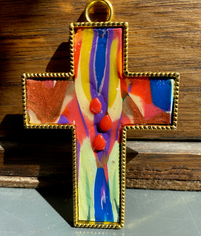 Droplets Cross Small Wall Hanging, Crucifix, Easter, polymer clay