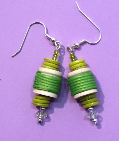 Lime spool earrings