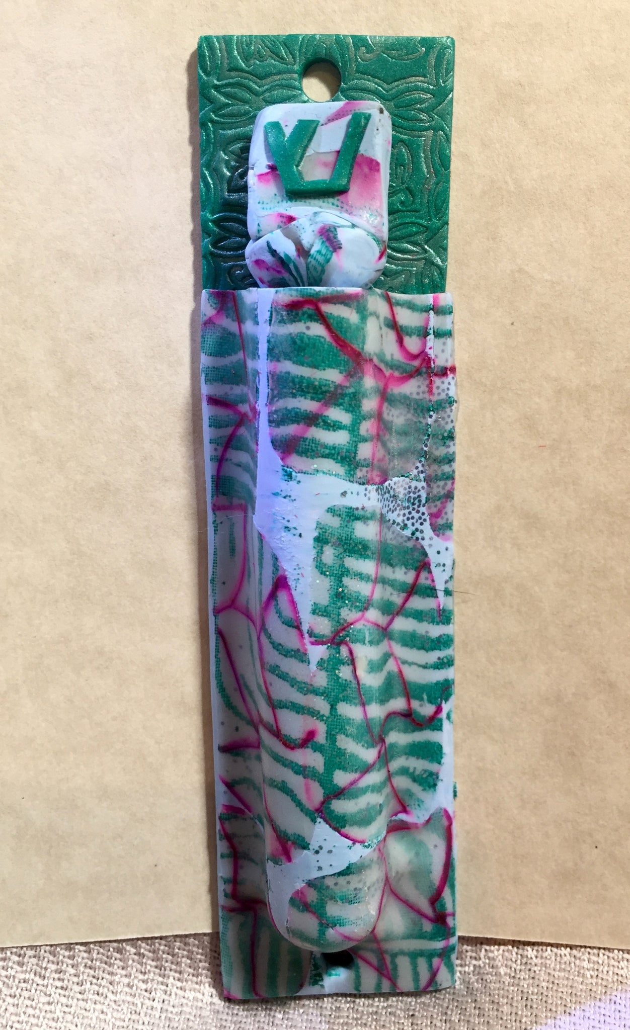 Layered Lines Mezuzah, polymer clay, contemporary Judaica, house blessing