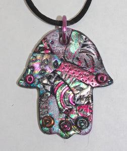 Metallic Patchwork Hamsa Necklace