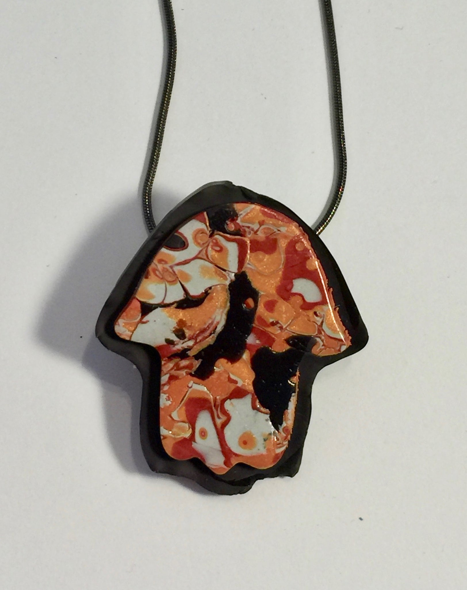 Mokume with Black Hamsa Necklace