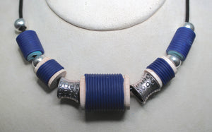 Navy spool necklace
