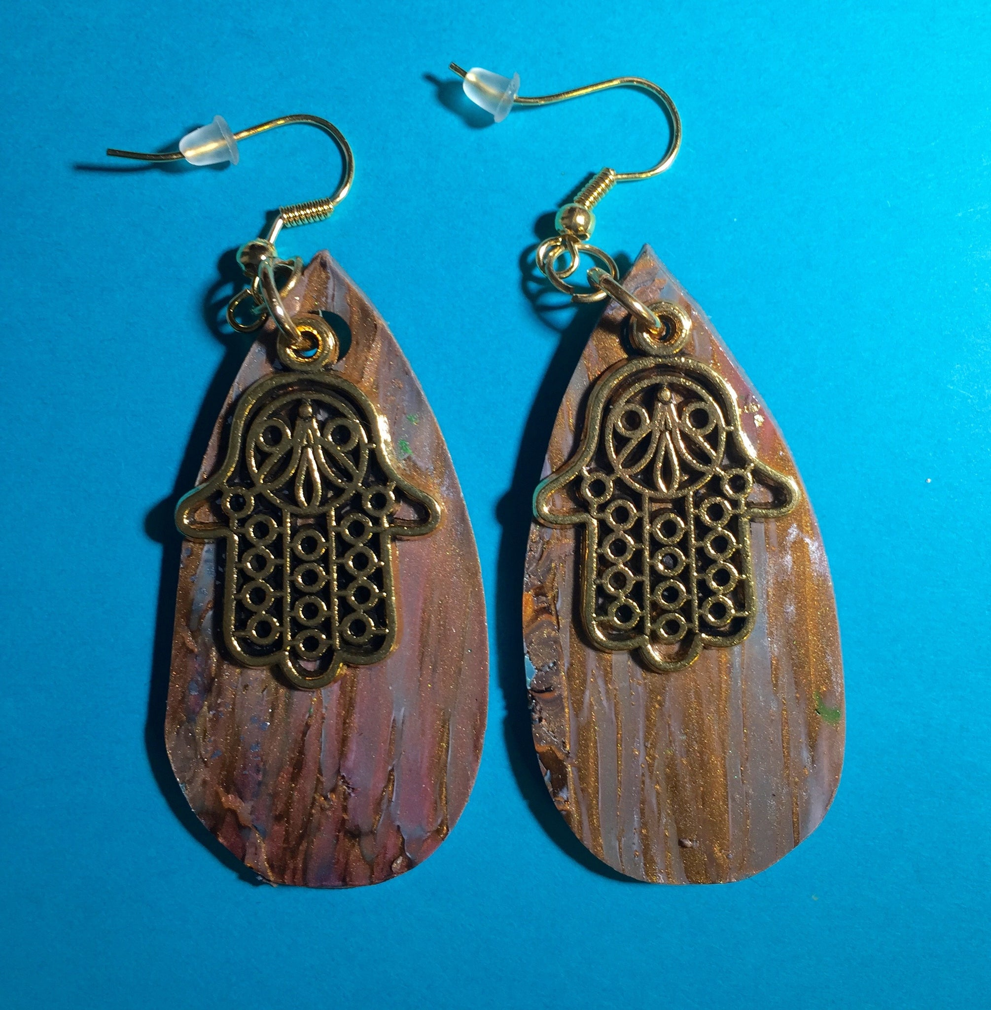 Neutral Metallic Hamsa Earrings