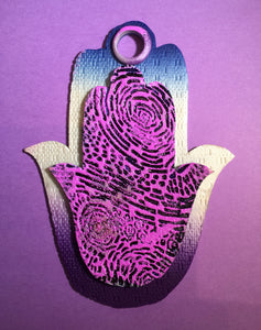 Purple Incised Hamsa