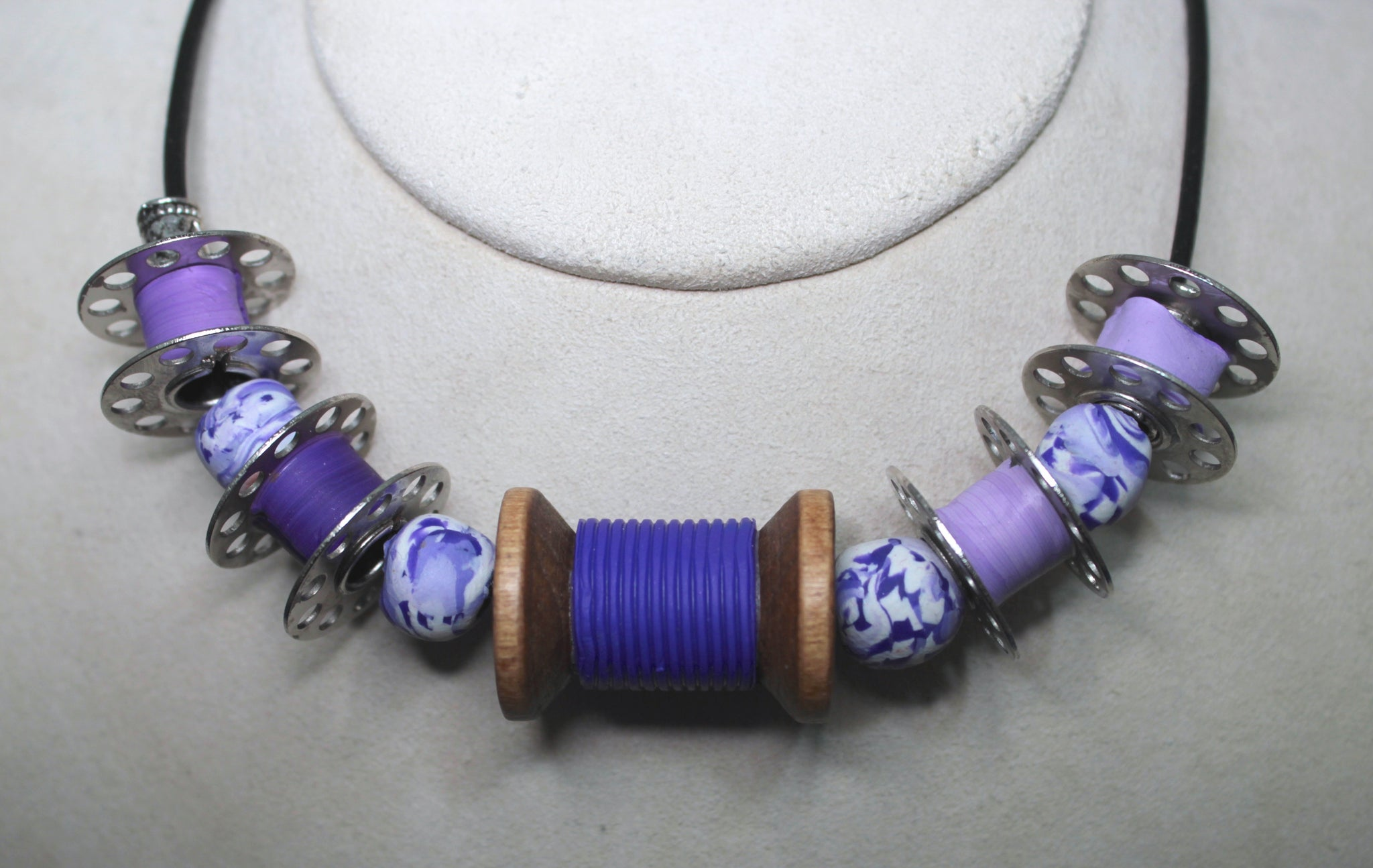 Purple Bobbin & Spool Necklace