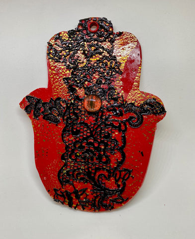 Red Black Lace Hamsa