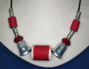 Red Spool and Thimble Necklace