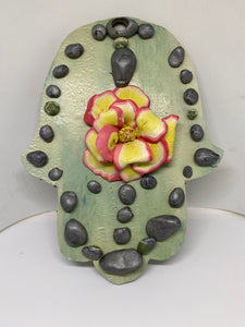 River Rock & Rose Hamsa