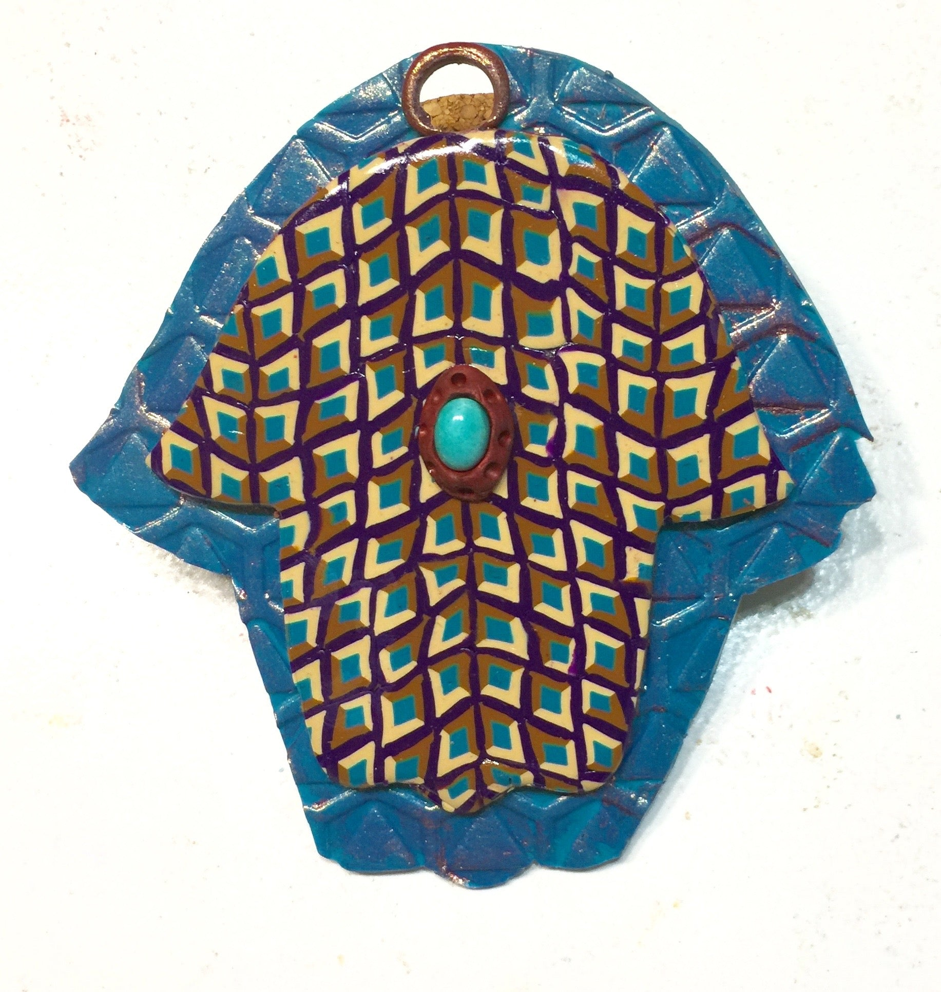 Turquoise and copper hamsa