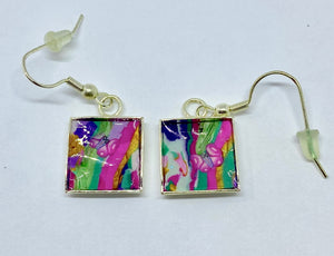 Vibrant square earrings