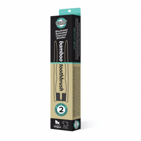 FUSS FREE ACTIVATED CHARCOAL BAMBOO TOOTHBRUSH - SOFT 2 PACK - seo-img
