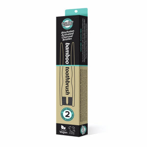 FUSS FREE ACTIVATED CHARCOAL BAMBOO TOOTHBRUSH - MEDIUM 2 PACK - seo-img