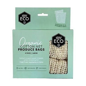 EVER ECO ORGANIC COTTON NET PRODUCE BAGS -4 PACK - seo-img