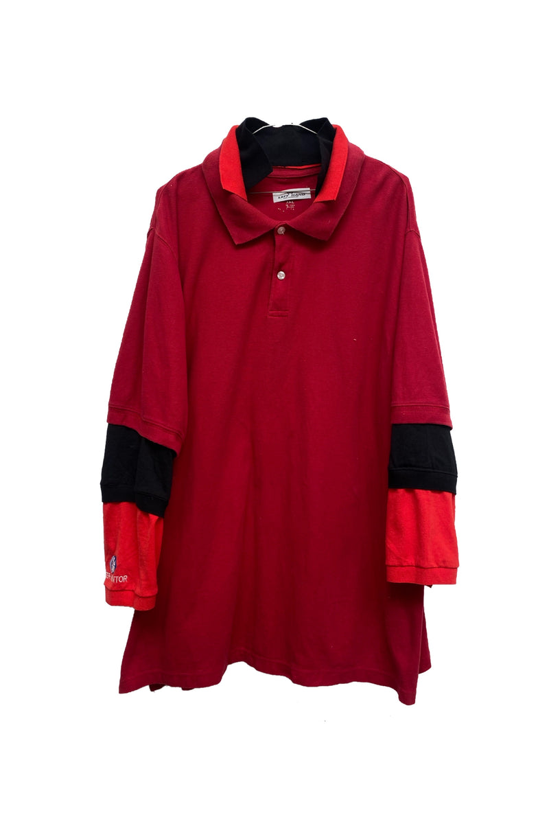 Red popped collar polo