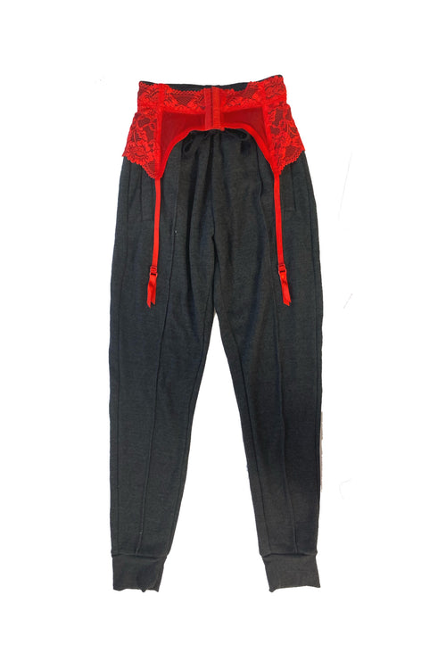 David cozy garter belt sweats