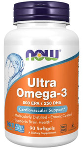 NOW Foods Ultra Omega-3 500 EPA/250 DHA Per Gel Molecularly Distilled Softgels