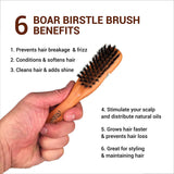 Boar Bristle Hair Brush Travel Size Medium Firmness Great for Beards