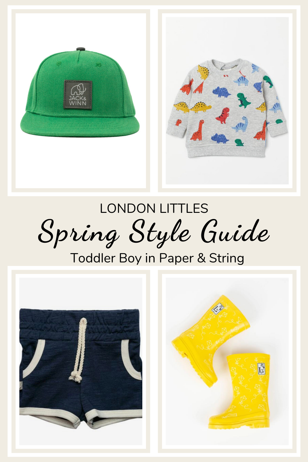 Spring Style Guide Toddler boy outfit with rain boots and hat and shorts