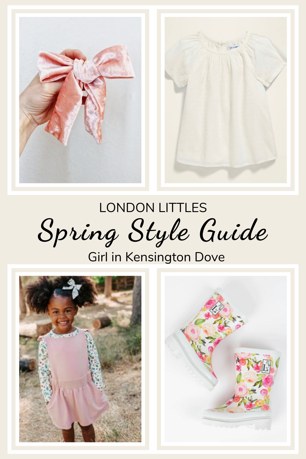 children spring style guide pink pinafore and floral rain boots london littles