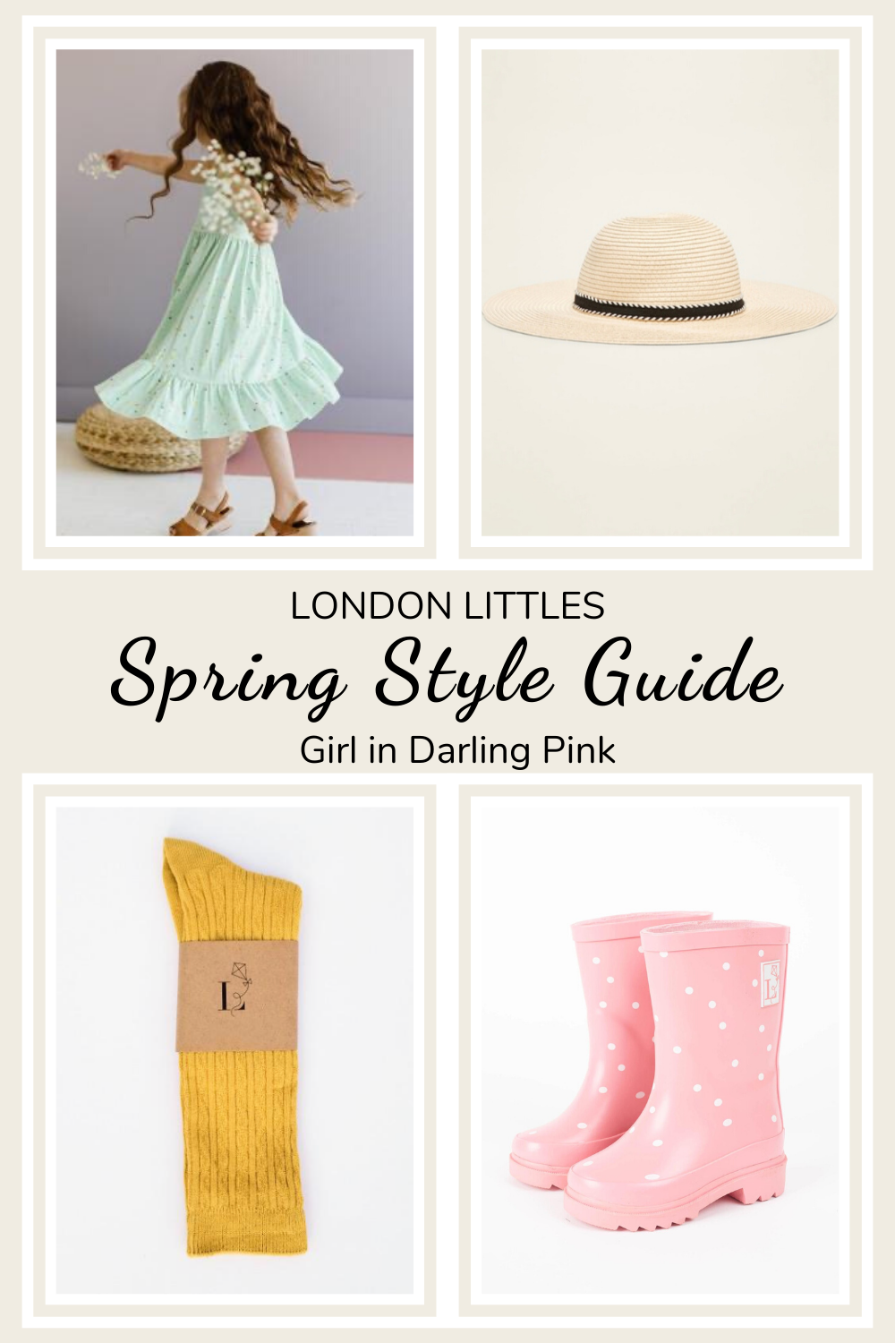 Spring Style Guide girl outfit with dress and rainboots