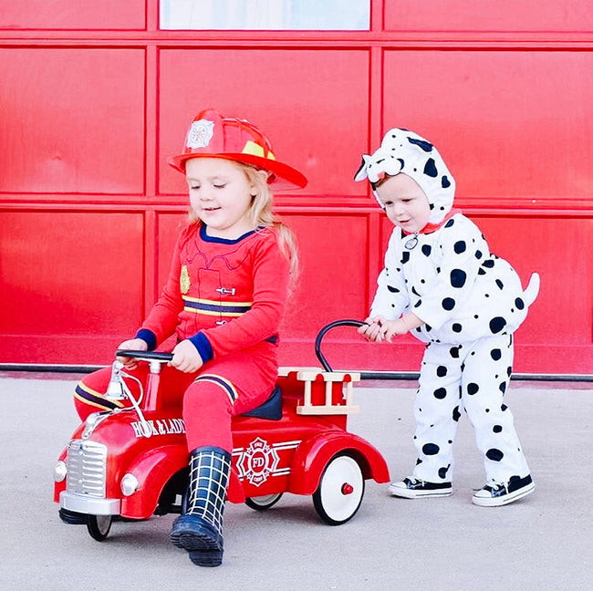 diy kids halloween costumes fire person and dog