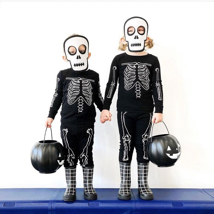 kids halloween costume skeletons