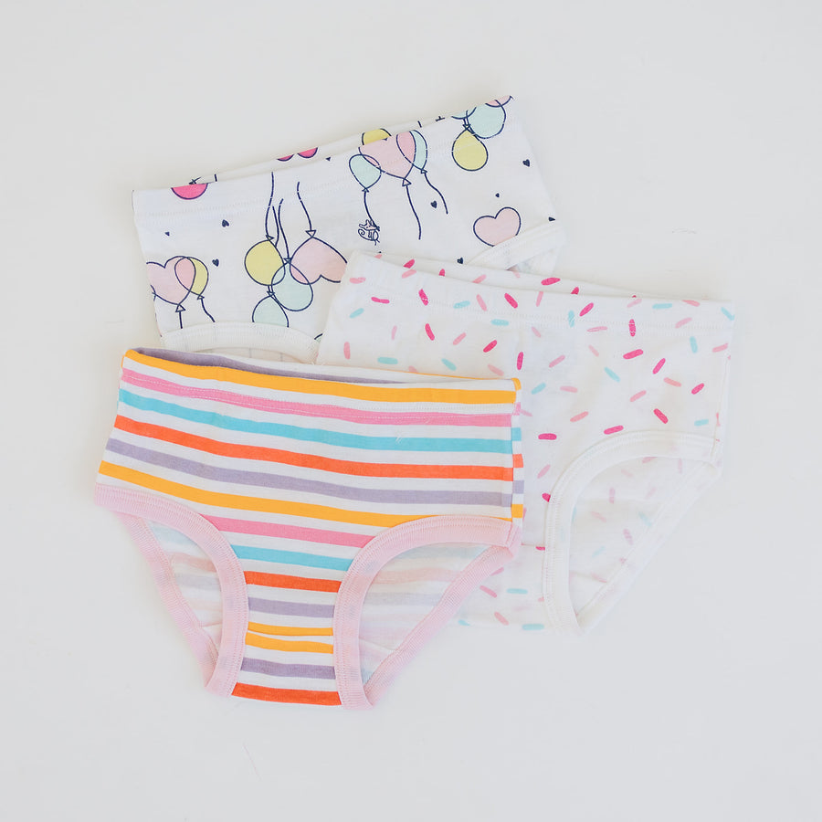 Girls 3-Pack Underwear - Balloons, Stripe, Confetti