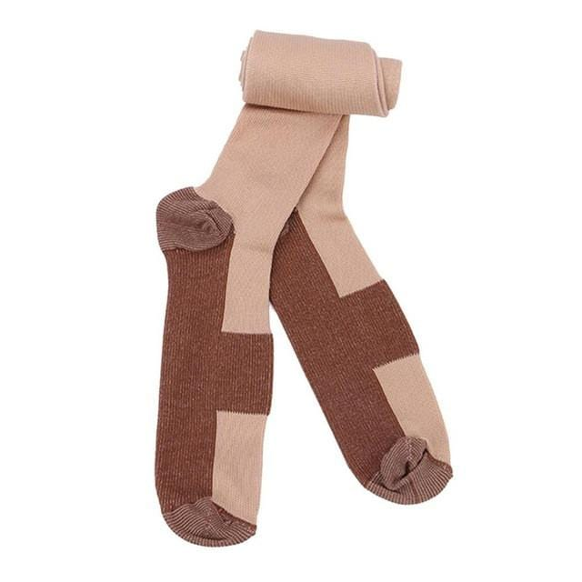 Beige Copper Compression Socks