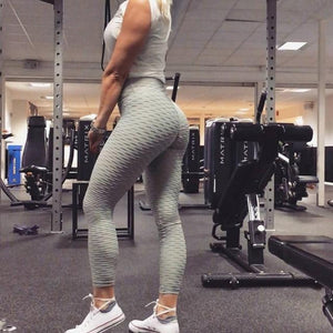 Anti-Cellulite High Waisted Textured Gray Leggings