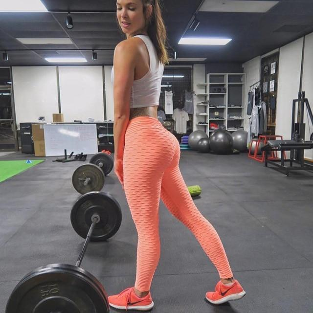 Anti-Cellulite High Waisted Textured Pink Leggings