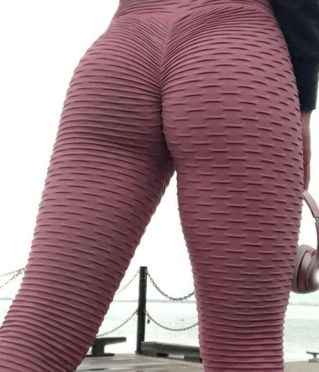 Anti-Cellulite High Waisted Textured Red Leggings