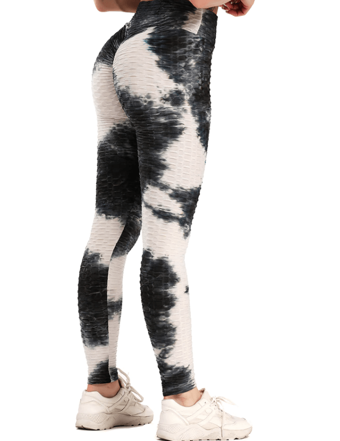 Anti-Cellulite High Waisted Textured Tie Dye Leggings